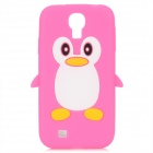 Protective Penguin Style Silicone Back Case for Samsung Galaxy S4 i9500 - Deep Pink + White