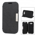 Protective Flip-Open PU Leather Case w / Stand für Samsung i9080 i9082 - Black