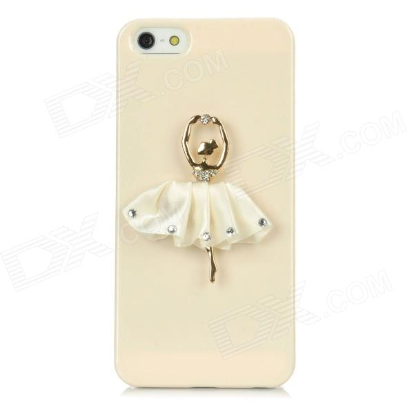 The Ballet Girl Style Protective Plastic Back Case for Iphone 5 - Beige cartoon girl parachuting protective plastic back case for iphone 5