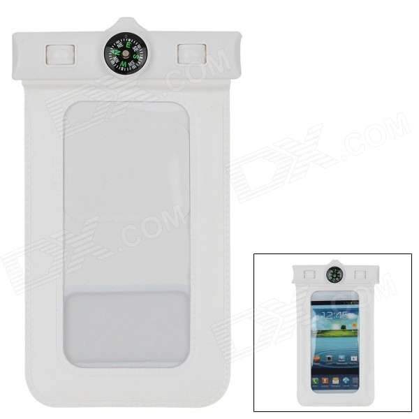 Universal Waterproof PVC Bag w/ Armband / Compass for Iphone + Samsung + More - White