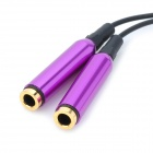 3.5mm Male to Dual Female Mono Audio Split Y-Cable - Purple + Black (25CM)