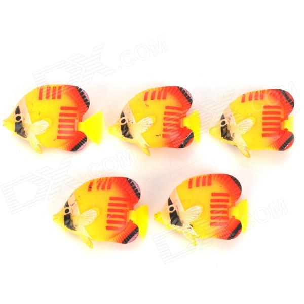 E5YK Lifelike Aquarium Plastic Decorative Fishes - Yellow + Red + Black (5 PCS) цена