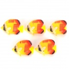 Lifelike Aquarium Plastic Decorative Fishes - Yellow + Red + Black (5 PCS)