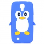 Protective Penguin Style Silicone Back Case for Samsung Galaxy S4 i9500 - Blue + White