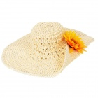 Fashion Big-Brim Folding Straw Beach Hat Sunbonnet for Women - Beige