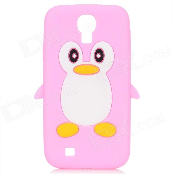 Protective Penguin Style Silicone Back Case for Samsung Galaxy S4 i9500 - Pink + White cool basketball skin pattern silicone protective back case for samsung galaxy s4 i9500 black red