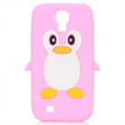 Protective Penguin Style Silicone Back Case for Samsung Galaxy S4 i9500 - Pink + White