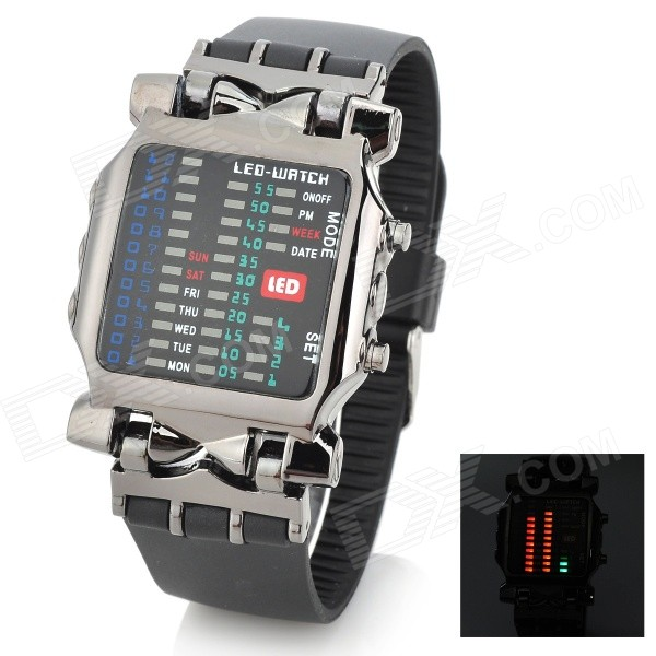 Fashion 31-LED Stainless Steel Wrist Watch with Date / Week Display - White (2 x CR2016) fashion stainless steel red yellow led water resistant wrist watch black 2 x cr2016