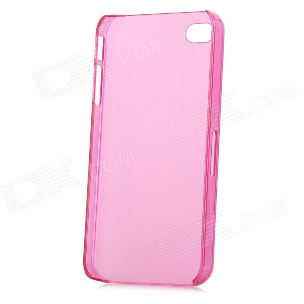 Ultrathin Protective Frosted PC Case w/ SIM Card Slot Open for Iphone 4 / 4S - Translucent Deep Pink cartoon pattern matte protective abs back case for iphone 4 4s deep pink