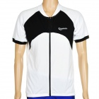 ROSWHEEL 47571 Outdoor Cycling Man Short Sleeve Polyester Quick Dry Jersey - Black + White (Size M)