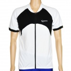 ROSWHEEL 47571 Outdoor Cycling Man Short Sleeve Polyester Quick Dry Jersey - Black + White (Size L)