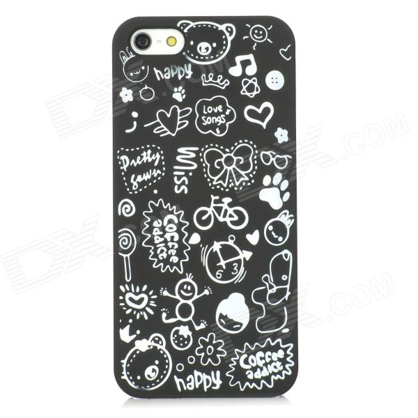 Cartoon Graffiti Style Protective PVC Back Case for Iphone 5 - Black + White mesh style protective back case for htc one x s720e black