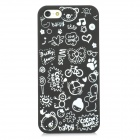 Cartoon Graffiti Style Protective PVC Back Case for Iphone 5 - Black + White