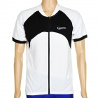 ROSWHEEL 47571 Outdoor Cycling Man Short Sleeve Polyester Quick Dry Jersey - Black + White (Size XL)