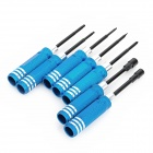 Hex Screw Driver Screwdriver Tool Set For RC Helicopter - Black + Blue + Silver (7PCS)