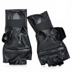 Stylish PU Leather Boxing Training Gloves - Black (Pair)