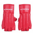 Stylish PU Leather Boxing Training Gloves - Red (Pair)