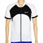 ROSWHEEL 47571 Outdoor Cycle Man Short Sleeve Polyester Quick Dry Jersey - Black + White (Size XXL)