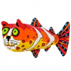 Cute Cat Head Fish Style Squeaker Pet Dog Toy - White + Yellow + Orange + Red