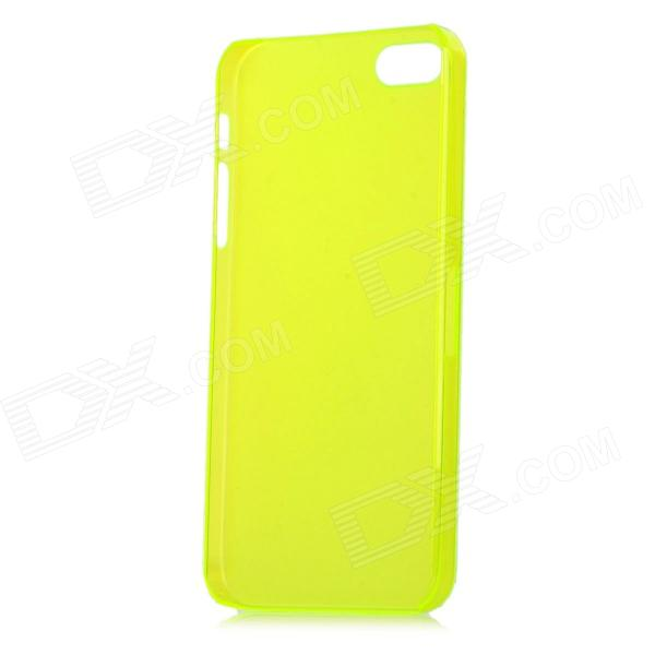 Ultrathin Protective Frosted PC Back Case w/ SIM Card Slot Open for Iphone 5 - Translucent Yellow 5pcs lot tps2205i tps2205 1a dual slot pc card power switch w parallel interface