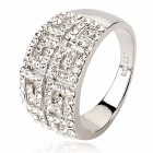 KCCHSTAR Stylish 18K Alloy CrystalFinger Ring - Silver