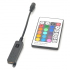 144W 24-Key LED RGB Controller w/ Mini Receiver - Black + Multicolored