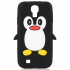 Cute Penguin Shape Protective Soft Silicone Back Case for Samsung Galaxy S4 / i9500 - Black + White
