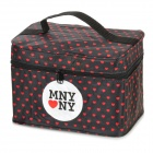Red Heart Pattern Waterproof Cloth Reißverschluss Cosmetic Bag - Schwarz
