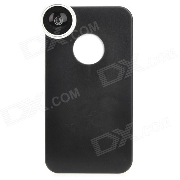 AMT-JT003 Fish Eye Fisheye Lens w/ Back Case for Iphone 4 / Iphone 4S - Black + Silver