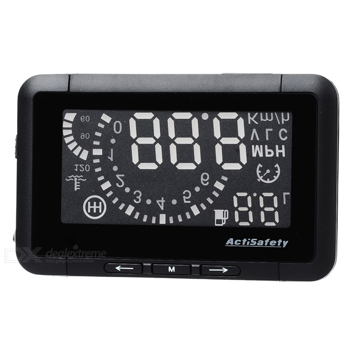 ASH-3 2.7 LED Car HUD Head-Up Voltage & Speed w/ Reflective Film for OBD II - Black 4f car obd2 ii manual switch hud overspeed warning windshield projector alarm system head up display interior lighting