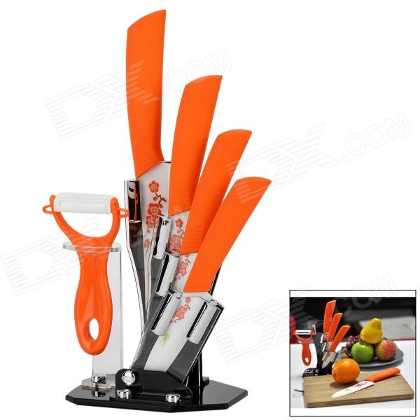 TJC TJC-032A 6-in-1 Zirconia Ceramic 3 / 4 / 5 6 Knife + Peeler w/ Base - Orange + White