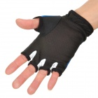 Outdoor Fishing Nylon Non-Slip Colloidal Particles Half-Finger Gloves - Blue + Black (Pair)