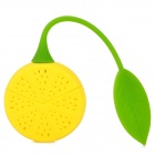 YSDX-775 Cute Lemon Style Soft Silicone Tea Spoon Strainer Filter - Yellow + Green