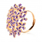 Fashion Flower Style CrystalRing - Golden + Purple