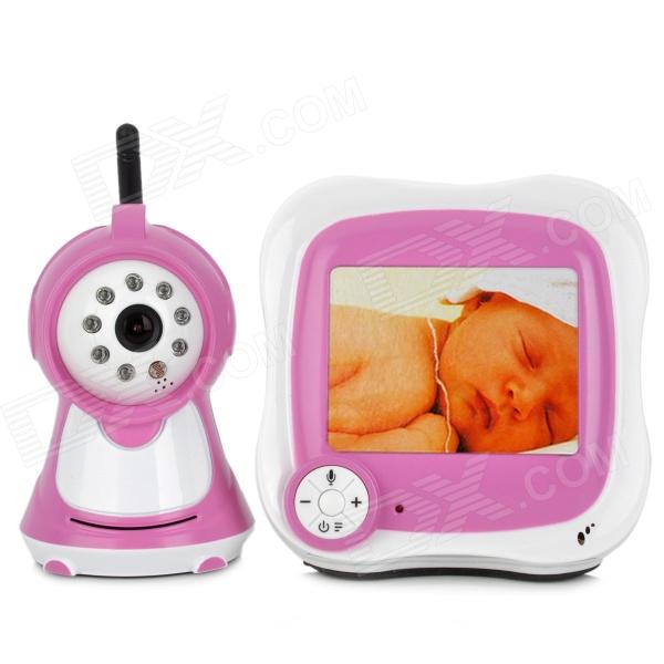 830S 3.5 LCD 2.4GHz Wireless Surveillance Camera Baby Monitor w/ 8-IR LED Night Vision - Deep Pink