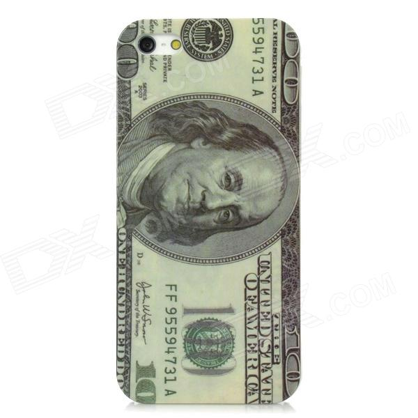100 US Dollars Style Protective ABS Back Case for Iphone 5 - Light Green + Grey creative protective abs back case w cigarette lighter for iphone 5 5s grey silver