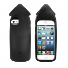 Whale Tail Style Silicone Hanging Back Case + Screen Guard for iPhone 5 - Black
