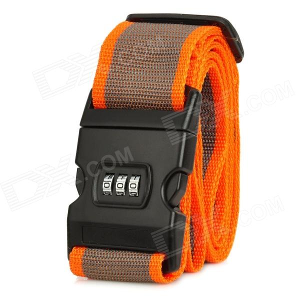 3-Digit PVC + Polypropylene Fiber Luggage Combination Strap Lock - Orange + Brown