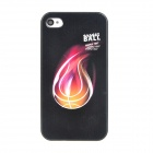 Colorfilm Relief Fire Basketball Style Protective Plastic Back Case for Iphone 4 / 4S - Black