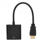HDMI Male to VGA 15-Pin Female Adapter Cable + 3.5mm Male to Male Audio Cable - Black (20cm / 152cm)