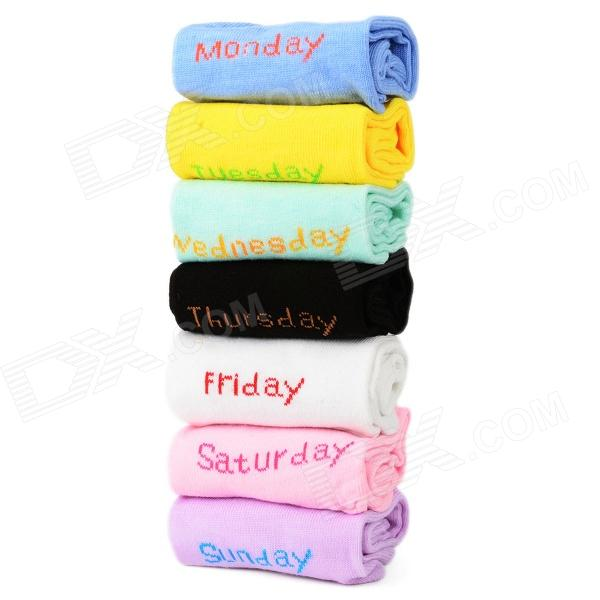 BS-C27-3464 Sport 7-color Week Socks for Women - Multicolored bs c27 3463 cotton men s socks for men white free size 7 pairs