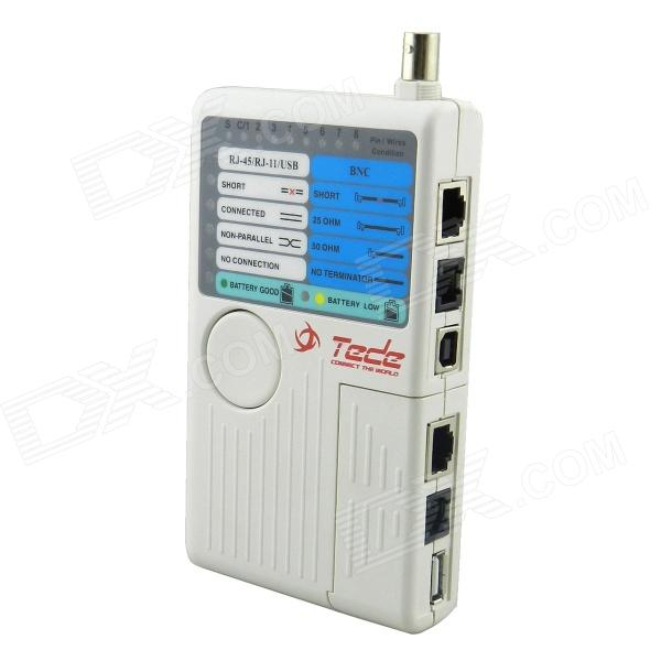 E285 4-in-1 RJ-45 / RJ-11 / USB / BNC Cable Tester - White (1 x 9V)