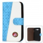 Protective Flip-Open Diamond Style PU Leather Case for Samsung i9082 - Blue + White
