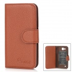 Alis Protective PU Leather Flip-Open Case for Samsung 9260 - Brown