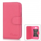 Alis Protective PU Leather Case w/ Card Slots for Samsung i9260 Galaxy Premier - Deep Pink