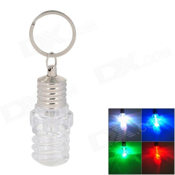 Spiral Type Bulb Style LED RGB Keychain - Transparent + Silver (3 x LR41) silver u type anodized aluminium led strip profile with clear transparent cover for cabinet kitchen led lighting