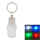 Spiral Type Bulb Style LED RGB Keychain - Transparent + Silver (3 x LR41)