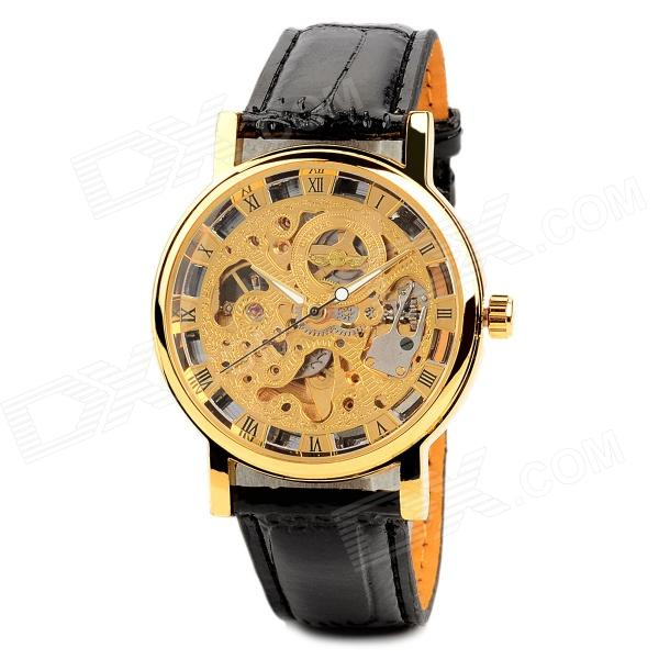 Men's Elegant Skeleton Self-Winding Mechanical Watch w/ PU Leather Band - Golden + Black
