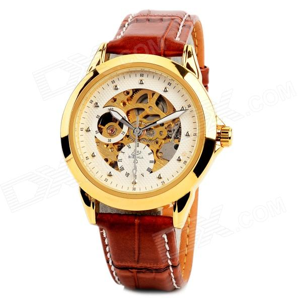 Men's Stainless Steel Self-Winding Mechanical Water-resistant Wrist Watch - Gold + Brown