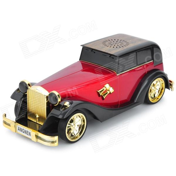 AN-M8 Car Shape Mini 2W MP3 Player Speaker w/ TF Card Slot / USB 2.0 / FM - Black + Red + Golden t050 3w mini portable retractable stereo speaker w tf black golden 16gb max